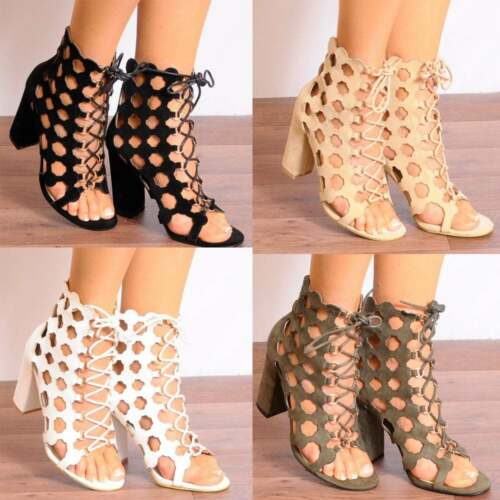 LACE UPS LASER CUT OUTS BLOCK ANKLE BOOTS STRAPPY SANDALS PEEP TOES HIGH HEELS