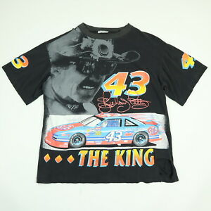 Vtg-Destroyed-Richard-Petty-T-Shirt-XL-Nicely-Faded-Black-Distressed-HUGE-Print