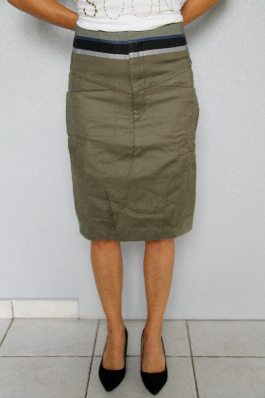 Skirt khaki linen cotton M+ F GIRBAUD saritabli T 33 (42-44) NEW LABEL val