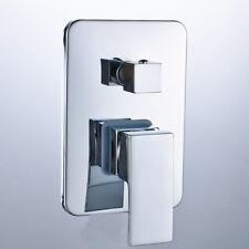 3 Way Wall-mount Shower Faucet Control Valve Mixer Tap Single Handle W/ Diverter