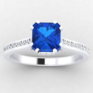 0.65 Ct Cushion Diamond Anniversary Blue Sapphire Ring 14K White Gold Size 4 5