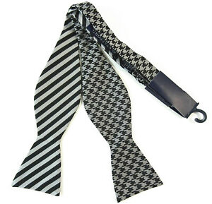 Bow-Tie-Self-Tie-Bowtie-Silver-Black-Double-Sided-Houndstooth-Striped-Adjustable