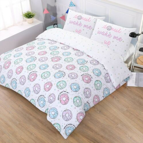 NightComfort Donut Wake Me Up Printed Duvet Cover /& Pillow Cases Bedding Set