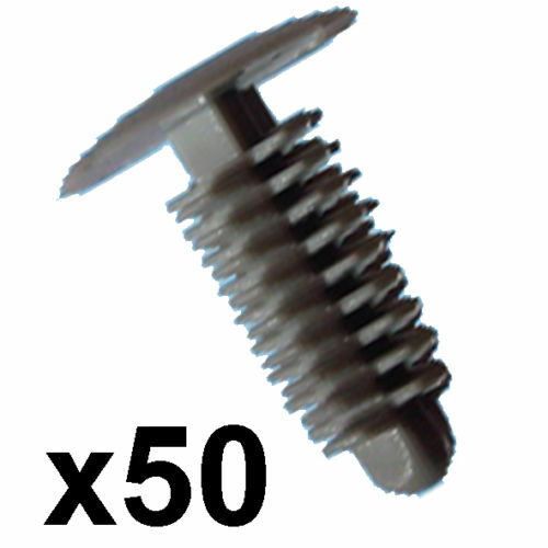 14mm tête 6-7mm trou 50x plastique gris VOITURE BORDURE CLIPS