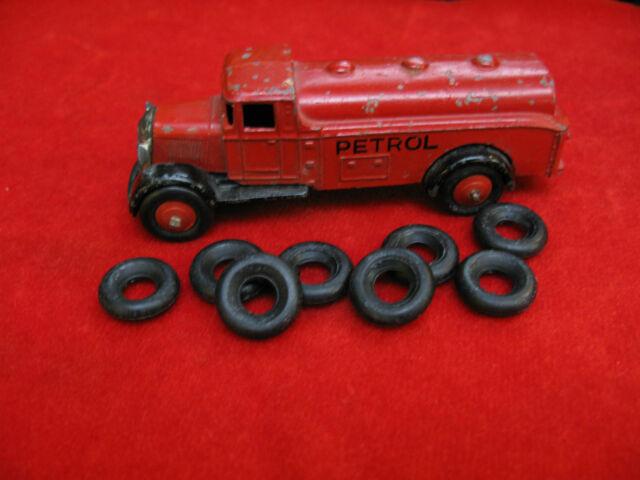 Large Smooth Tires, Dinky Toys, black, 19mm, Lot of 8, Guy Vans & Supertoys