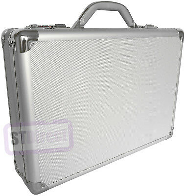 pro aluminium silver laptop padded briefcase attache case hard carry flight bag ebay. Black Bedroom Furniture Sets. Home Design Ideas
