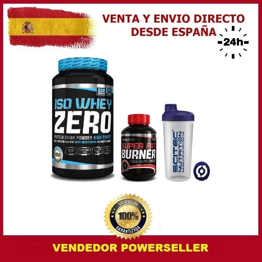 ISO WHEY ZERO 908grs.+SUPER FAT BURNER 120 CAPS+SHAKER CHOCO BLANCO BIOTECHUSA