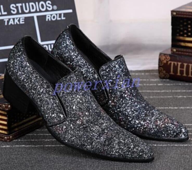 Garanzia del prezzo al 100% Mens scarpe Bling Bling Bling Bling Sequins Formal Wedding Pointed Toe Pumps Leather Plus 47  fantastica qualità