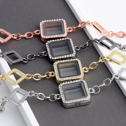 5PCS Mixed Color en Verre Carré Mémoire vivante Médaillon Bracelet Fit Flottant Charms