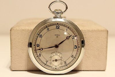 """Watches, Parts & Accessories Art Deco Ww2 Era Rare Men's Swiss 44mm Chromed Pocket Watch """"era"""" 1a 15 Jewels Price Remains Stable Antique"""