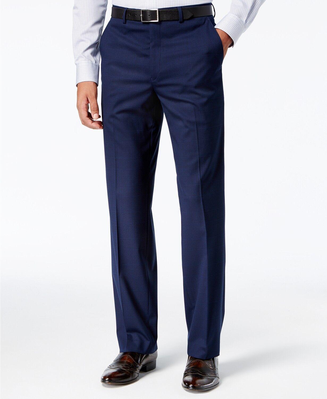 SEAN JOHN Mens blueE FIT FLAT FRONT PLAID SUIT TROUSERS DRESS PANTS 32W 32L