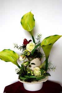 Blumengesteck Kunstblumen Arragament Calla Rosen Tischdekoration