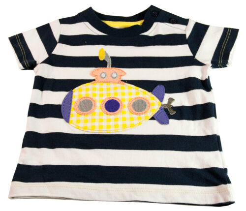 Baby Boys Toddlers T Shirt White Navy Stripe Short Sleeved Cotton Ages 3-6M 2-3Y