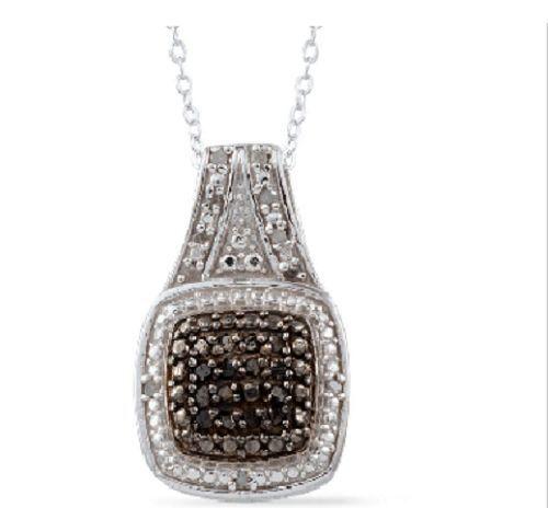 environ 50.80 cm Argent Sterling Diamant Pendentif Chaîne 20 in TGW 0.23 Cts Diamant Noir Rond