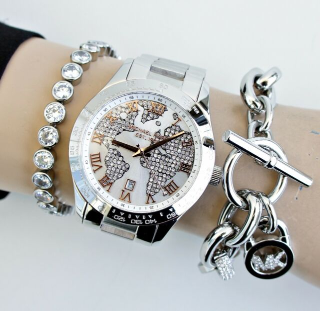 Original Michael Kors Uhr Damenuhr MK5958 Layton Kristall Farbe:Silber/Rose NEU!