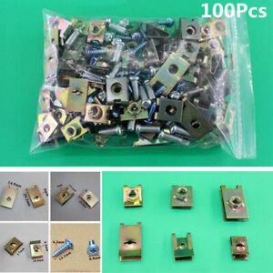 100x-Nuevo-Auto-Coche-Puerta-Panel-Recorte-Fijo-Sujetadores-cuerpo-Tornillo-U-Tipo-Junta-Clips