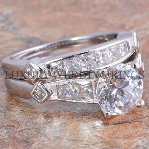 3.25 Ct Round /& Princess Cut Engagement Wedding Ring /& Band Bridal Set Size 5-10