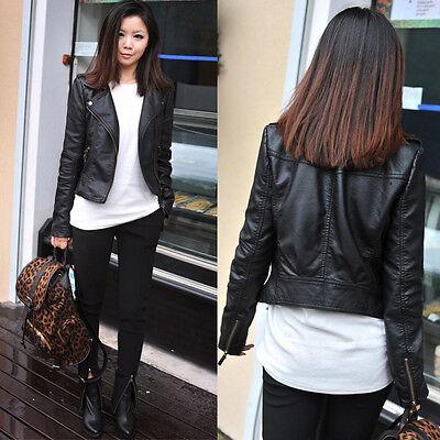 Cool Women Slim Black Biker Motorcycle Synthetic Leather Zipper Jacket Coat S M