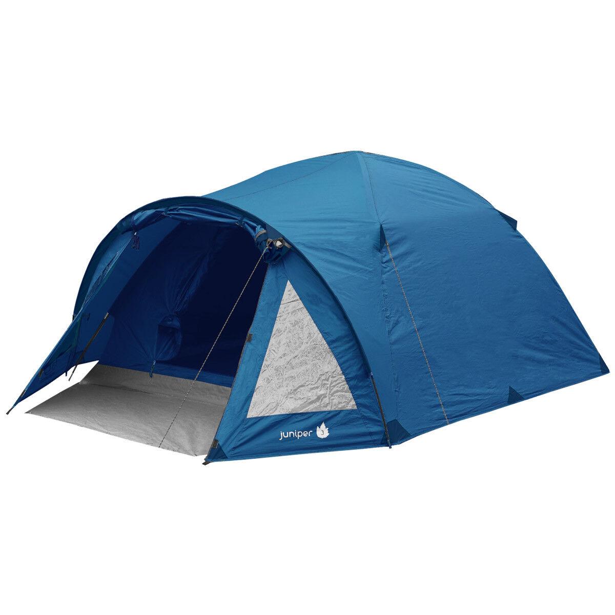 Highlander Wacholder 3 Personen Kuppel Zelt Feste Wochenend-Camping Wandern Blau