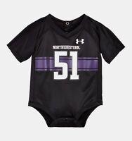 Infant Under Armour Northwestern Wildcats Black Jersey Bodysuit 6-9 Months