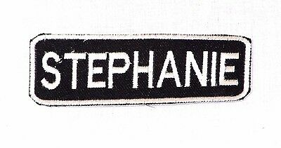 June White on Black Iron on Name Tag Patch for Biker Vest NB119