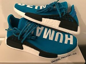 big sale 2f1ac 41678 Details about ADIDAS NMD HUMAN RACE HU PHARRELL PW UK 4 5 6 7 8 9 10 11 12  BLUE WHITE BOOST
