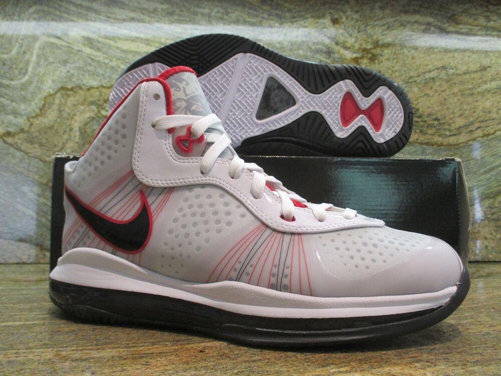 Nike Lebron James 8 V/2 SZ 8 blanc noir Sport rouge Miami Heat Elite 429676-100