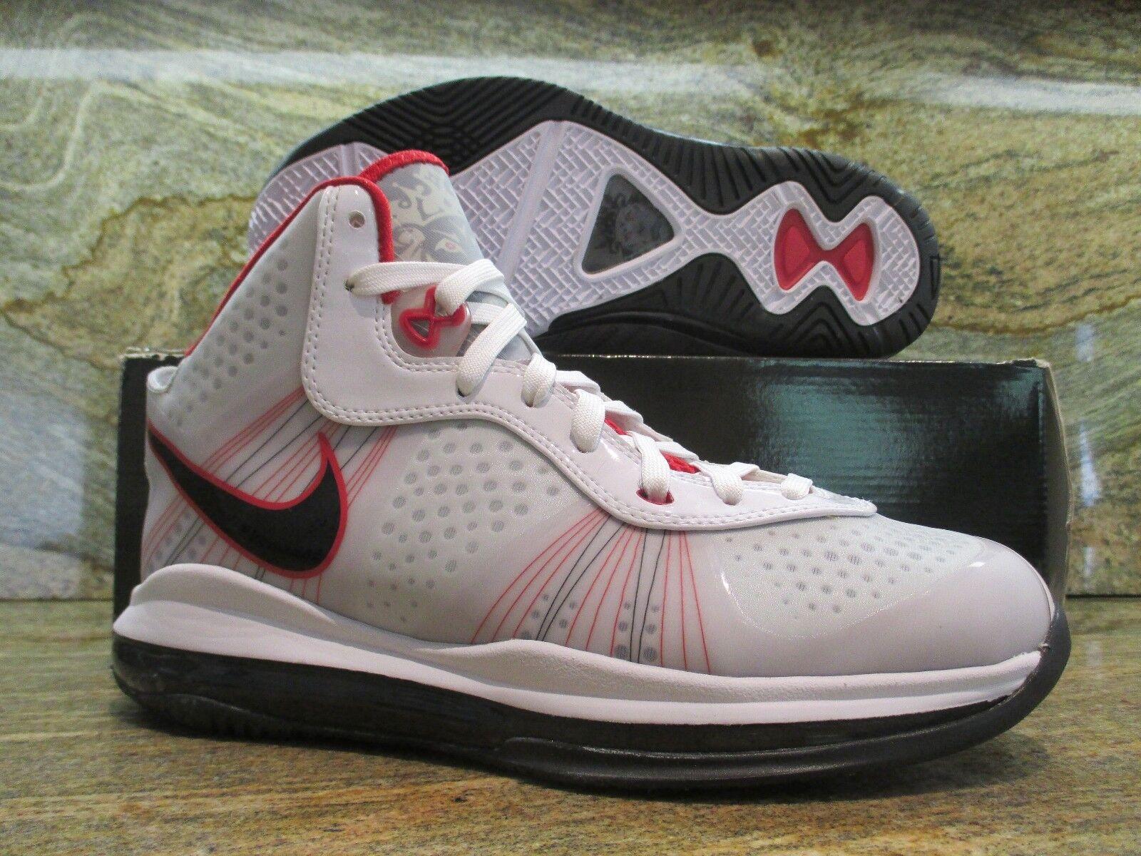 Nike Lebron James 8 V/2 SZ 8 White Black Sport Red Miami Heat Elite 429676-100