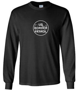 Blanco-EE-UU-patrulla-fronteriza-Logo-T-Shirt-Camisa-Mangas-Largas-Negro-de-inmigracion-Trump
