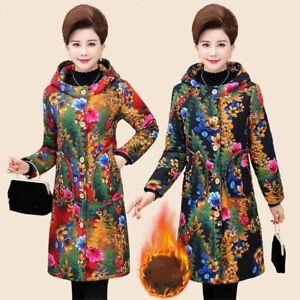 Lady Floral Hooded Jackets Coat Ethnic Parka Outwear Fleece Lined Winter Retro