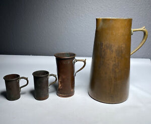 """Vintage Jenzo Solid Copper measuering Cups With Pitcher 8"""" Made In Italy"""