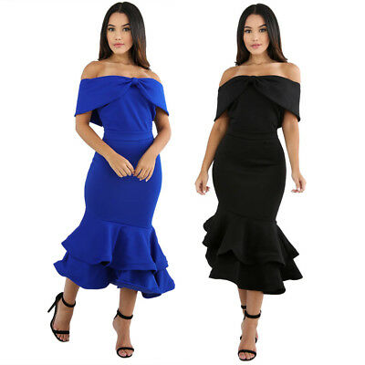 Sexy Bow Cape Off Shoulder Mermaid Bodycon Slim Formal Cocktail Party Club Dress