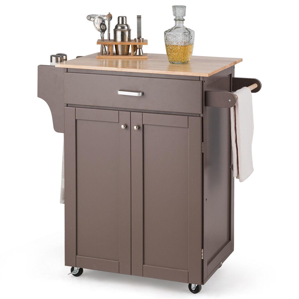 Rolling Kitchen Island Utility Kitchen Cart Home Cabinet W Spice Rack Brown