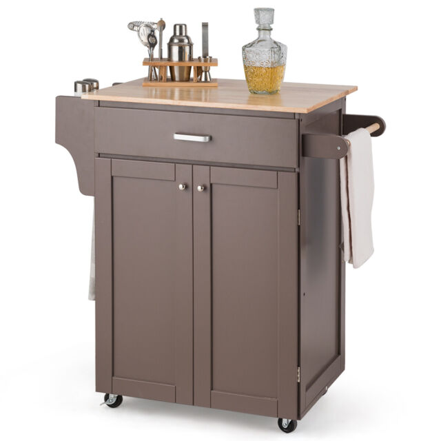 Rolling Kitchen Island Utility Kitchen Cart Home Cabinet w/ Spice Rack Brown