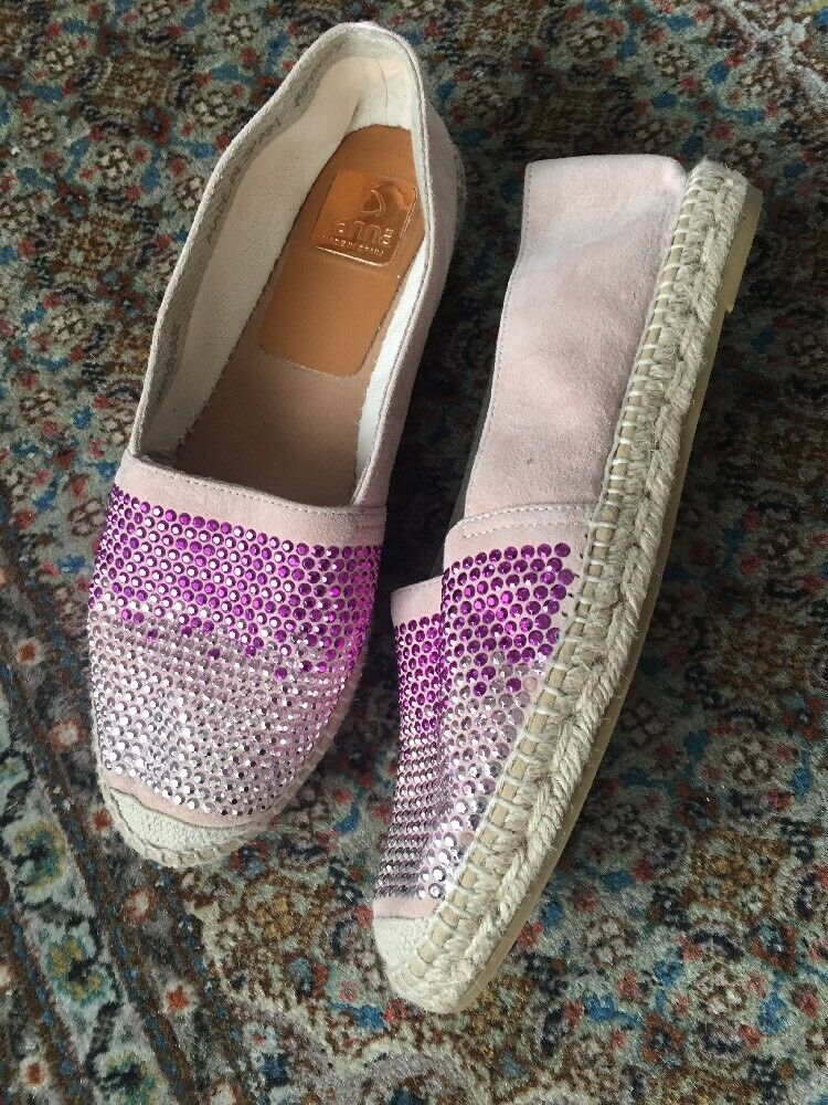 Pale Pink Suede Handmade Kama Sequin Espadrilles Size 6.5