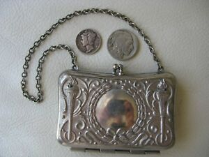 Antique-Art-Nouveau-Silver-Greek-Olympic-Flame-Card-Case-French-Doll-Coin-Purse