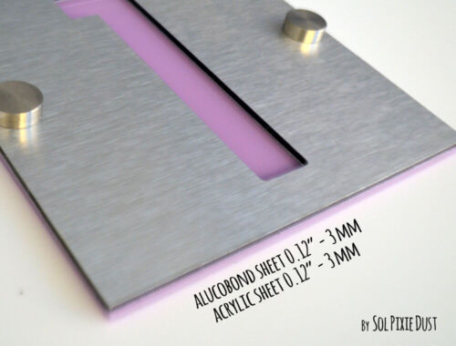One Number Square Alucobond with Purple Acrylic Plaque Modern House Numbers