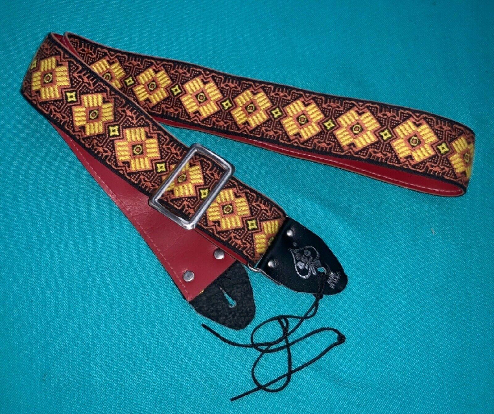 Vtg ACE Rare Beautiful Pattern Woven Guitar Strap