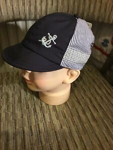 Baby Boys Sailor Sun Cap Hat White   Navy 100% Cotton Lined Summer ... 3c9d502f8cc5