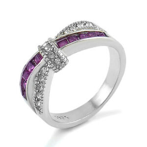 Purple-Amethyst-amp-CZ-Ring-Band-Criss-Cross-White-Gold-Filled-Jewelry-Size-6-10