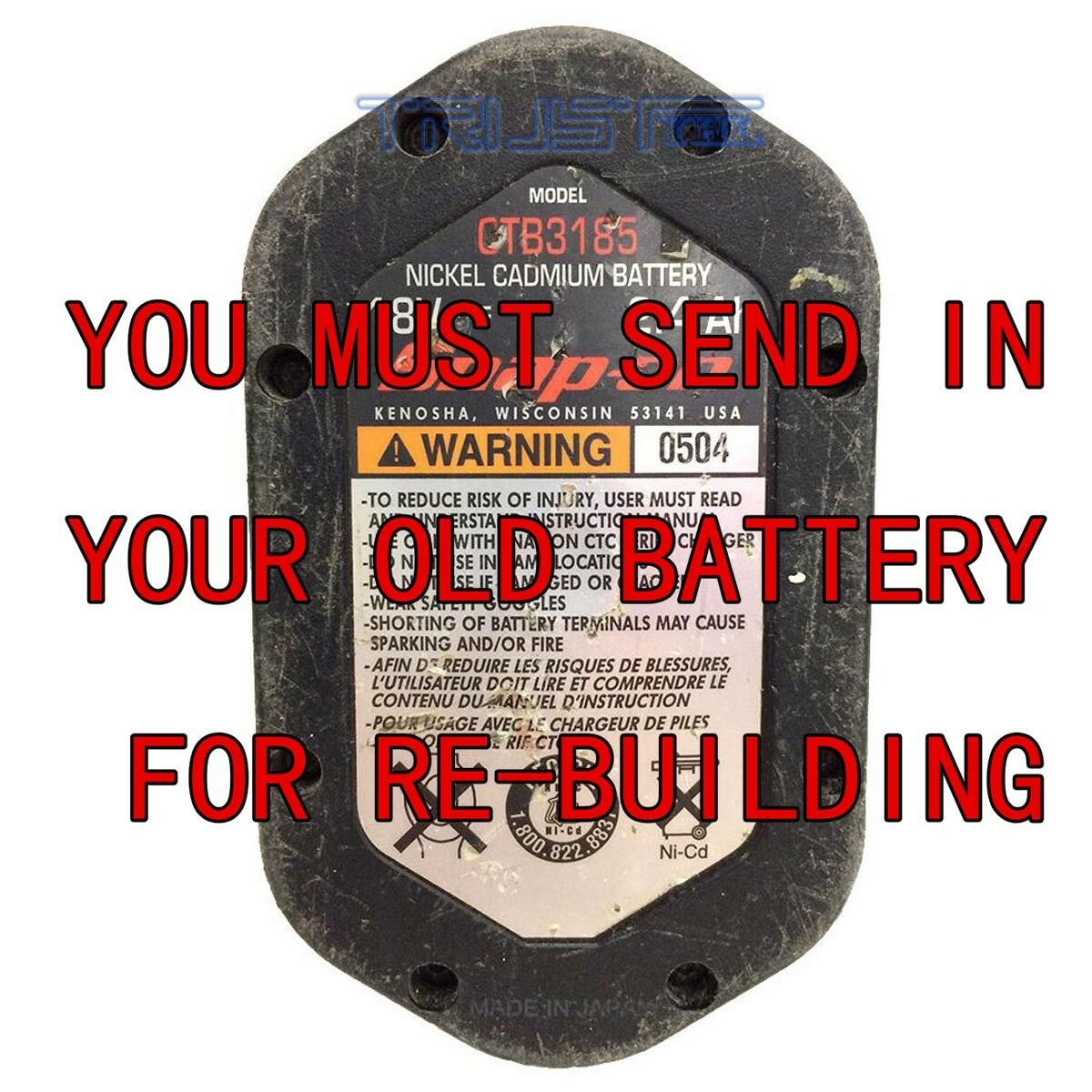 FOR SNAP-ON CTB3185 BATTERIES THE BEST REBUILD SERVICE  BAY NI-MH 3.0AH