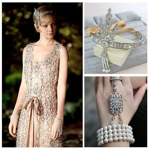 Gatsby-1920-039-s-Flapper-Crystal-Pearl-Headpiece-Headband-Bracelet-Ring-Crown-Set