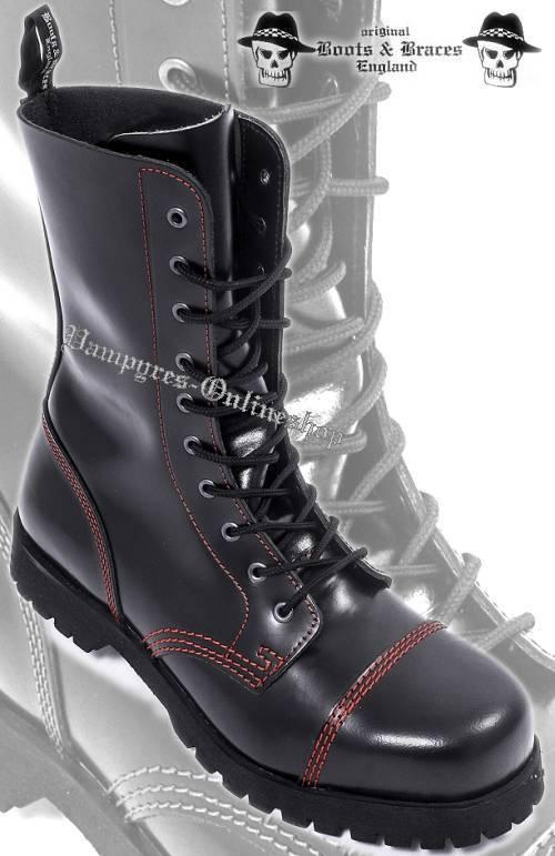 Boots & Braces 10-Loch rede Naht Stiefel black Leder Rangers And Stahlkappe