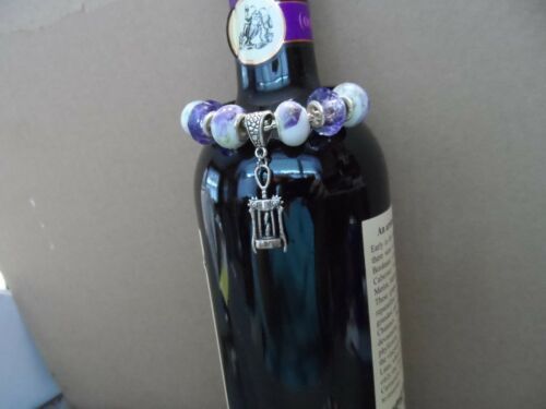 Metal wine bottle decorative necklace with murano glass beads choice lot 2