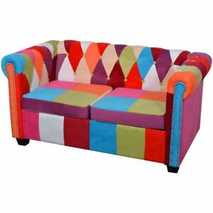 2 Seater Sofa Vintage Patchwork Fabric Loveseat Chesterfield Couch