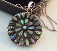Vintage Jewellery Super Sterling Silver & Abalone Shell Flower Pendant Necklace