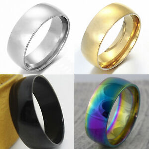 8mm-Stainless-Steel-Mens-Womens-Wedding-Band-Gold-Silver-Black-Ring-H-to-Z-4