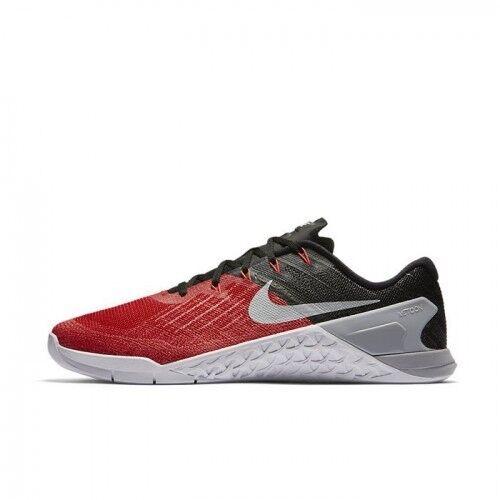 Nike Metcon 3 University Rouge Noir Blanc Gris Taille UK 14 EUR 49.5 852928-600-