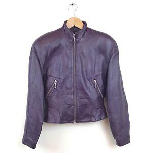 Michael-Hoban-Leather-Jacket-5-6-Purple-Moto-North-Beach-VTF-Zipper-Women-s