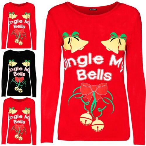 Da Donna con Jingle My Campane Natale Nastro Cravatta Elastico Manica Lunga T Shirt